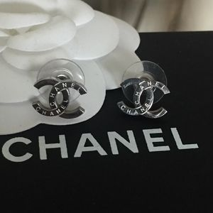 Authentic Chanel Silver Boutique Earrings
